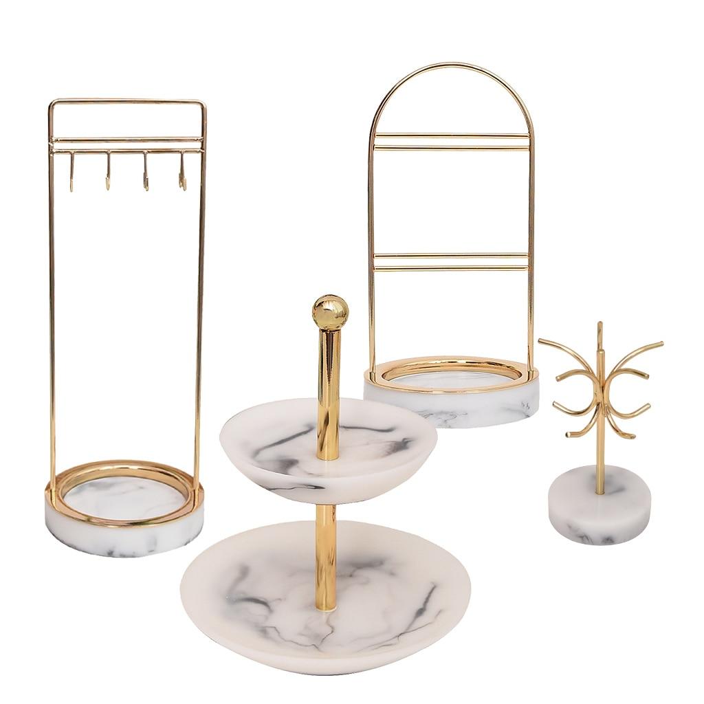 4 Style Marbling Resin Retro Nordic Jewelry Organizer Rack Display Vintage Room Counter Showcase