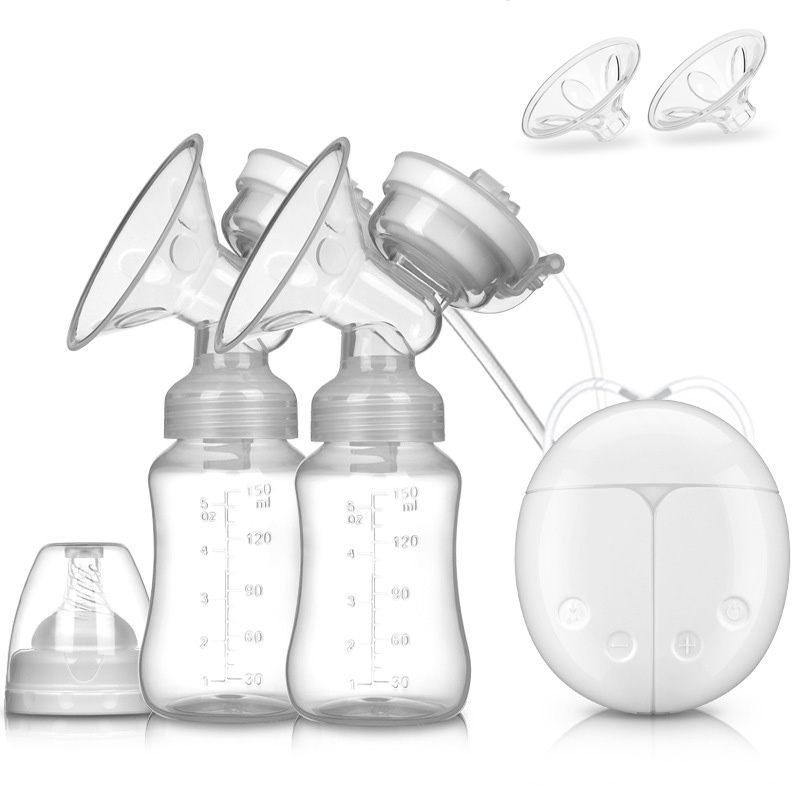 Double Electric Breast Pumps USB Powerful Automatic Suction Pump With Baby Milk Bottle Cold Heat Pad Nipple Breast Feeding Tools
