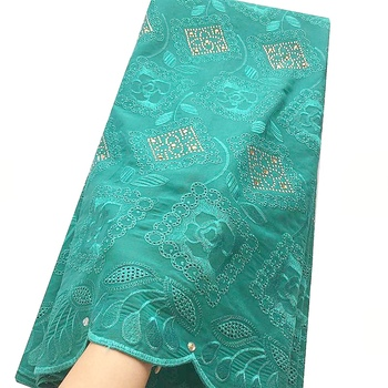 Italy Latest Nigerian Lace Fabric 2019 High Quality Swiss Voile Lace in Switzerland Rhinestones Green Cotton Indian Lace Fabric