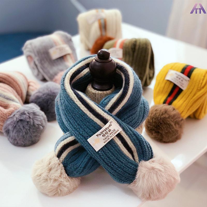 1-8歳の子供スカーフ秋冬幼児の少年少女クロスニットウールスカーフ野生暖かいスカーフ