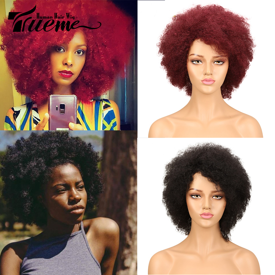 Trueme Short Human Hair Wigs Afro Kinky Curly Wig 100% Remy Brazilian Hair Cheap Fashion Full Wig For Black  Women