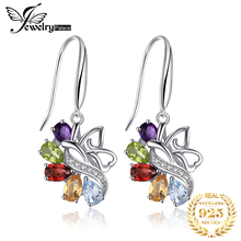 Genuine Amethyst Citrine Garnet Peridot Sky Blue Topaz Drop Earrings Dangle Solid 925 Sterling Silver Unique Design natural turquoise and peridot handmade unique 925 sterling silver earrings 1 5 x4688