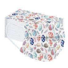 Masque de Protection facial jetable à trois couches pour adulte, avec filtre 100, imprimé à la mode, couleur arc-en-ciel, œufs de pâques, 10 à 2021 pièces