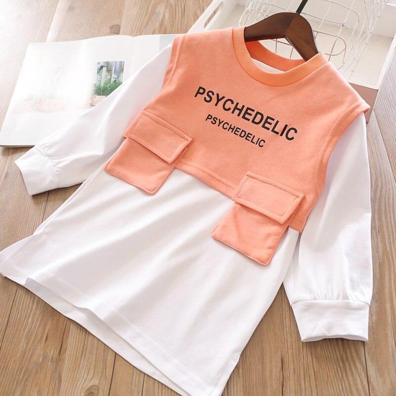Весенние комплекты для девочек, длинная футболка с буквенным принтом для девочек и жилет с буквенным принтом - Цвет: orange