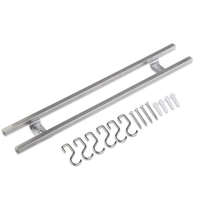 HLZS-Wall-mounted Magnetic Knife Strip Stainless Steel Double Bar Knife Storage Rack With Hook For Knives Utensils (40cm)