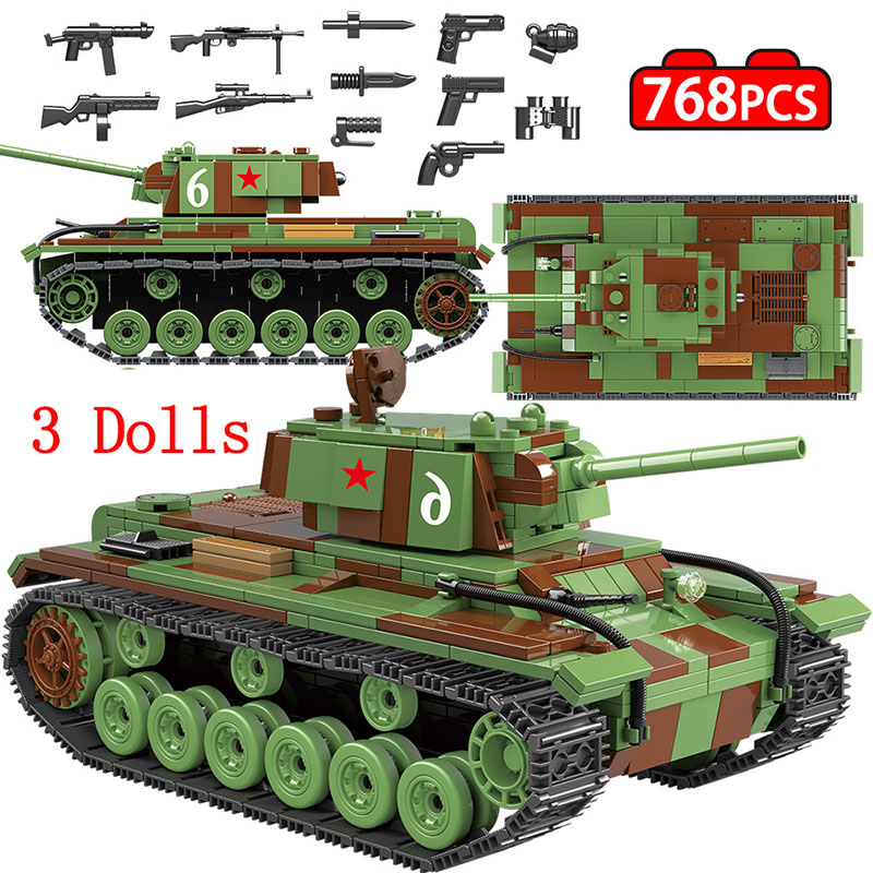 Military Soviet Russia KV 1 Tank Building Blocks Legoingly Tank City WW2 Soldier Police Weapon Bricks Sets Toys For Boys 768 PCS