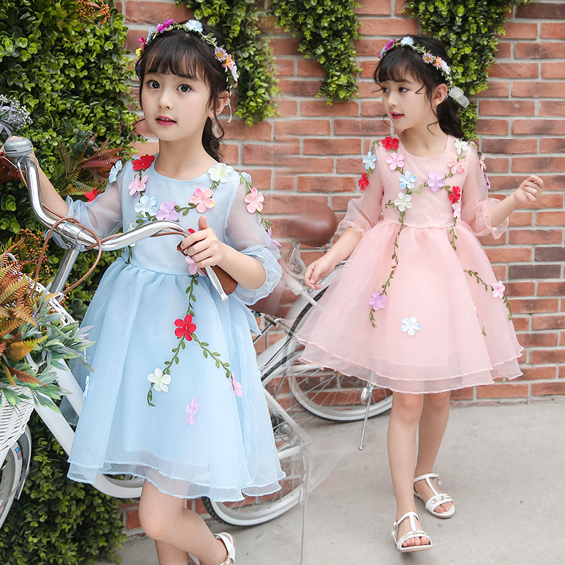 Children Shirt 2019 Summer Middle And Large Girls Dancing Skirt CHILDREN'S DAY Performance Flower Fairy Costume TTTM