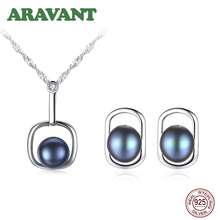 Black Pearl Jewelry Set Natural Freshwater Pearl Necklace Stud Earrings 925 Sterling Silver Jewelry For Women