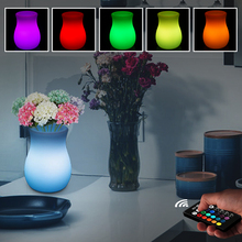 Simple Vase LED Night Light Mood Decorative Outdoor Garden LED Light Rechargeable 16 Colors RGB Remote Control Dimmable LED Lamp 20cm free shipping rgb remote control colors change led light ball for club or garden vc b200