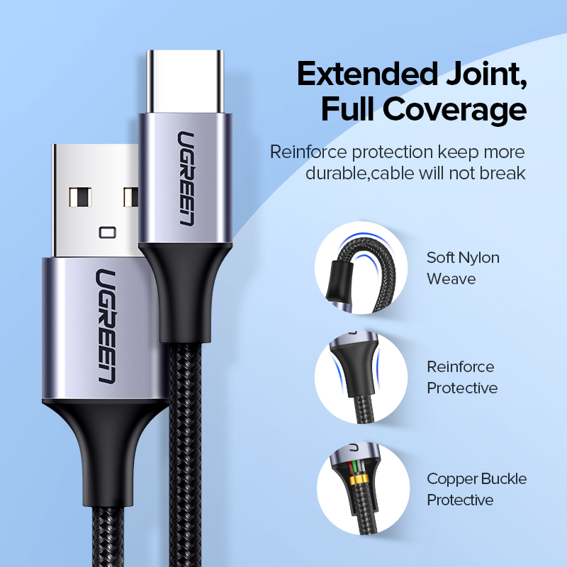 Ugreen Usb Type C Kabel Voor Samsung S10 S9 3A Snelle Usb Opladen Type-C Lader Data Kabel Voor redmi Note 8 Pro USB-C Cabo Draad 6