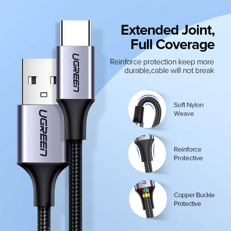 Ugreen USB Type C Cable for Samsung S9 S8 Fast Charge Type-C Mobile Phone Charging Wire USB C Cable for Xiaomi mi9 Redmi note 7