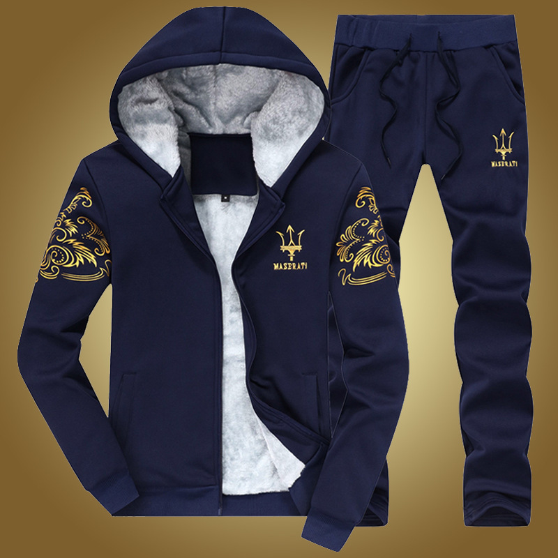 Winter Plus Velvet Men'S Wear Casual Sports Clothing Set Coat Men's Thick Casual Fashion Hooded Maserati Fashion