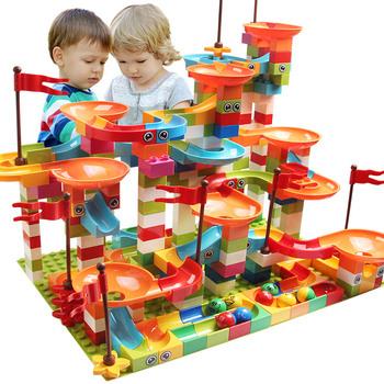 DIY Big Size Blocks-Budowlane klocki o dużym rozmiarze dla dzieci marmur kompatybilny duploed wyścig bieganie zjeżdżalnia prezent 77-308 sztuk tanie i dobre opinie ZKZC CN (pochodzenie) Unisex 3 lat Mały budynek blok (kompatybilne z Lego) Certyfikat building blocks brick can not eat