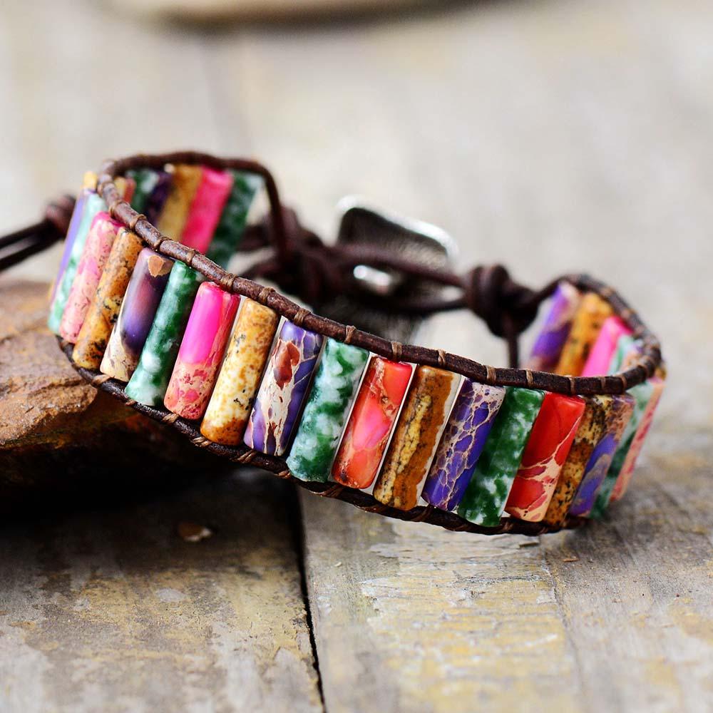 Boho Bracelet Tube Shape Natural Stone Single Leather Wrap Bracelet Semi Precious Stone Women Beaded Cuff Bracelet Dropship