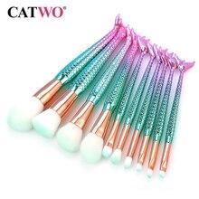 Catwo 7/10 adet Mermaid makyaj fırçalar göz farı vakfı pudra Eyeliner kirpik makyaj fırçası kozmetik güzellik aracı Set sıcak