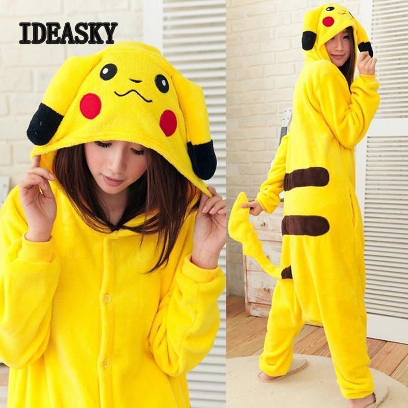 Pikachu Costume Jumpsuit Pajamas Sleepwear Hoodie Cosplay Onesie Pokemon Animal Kigurumi