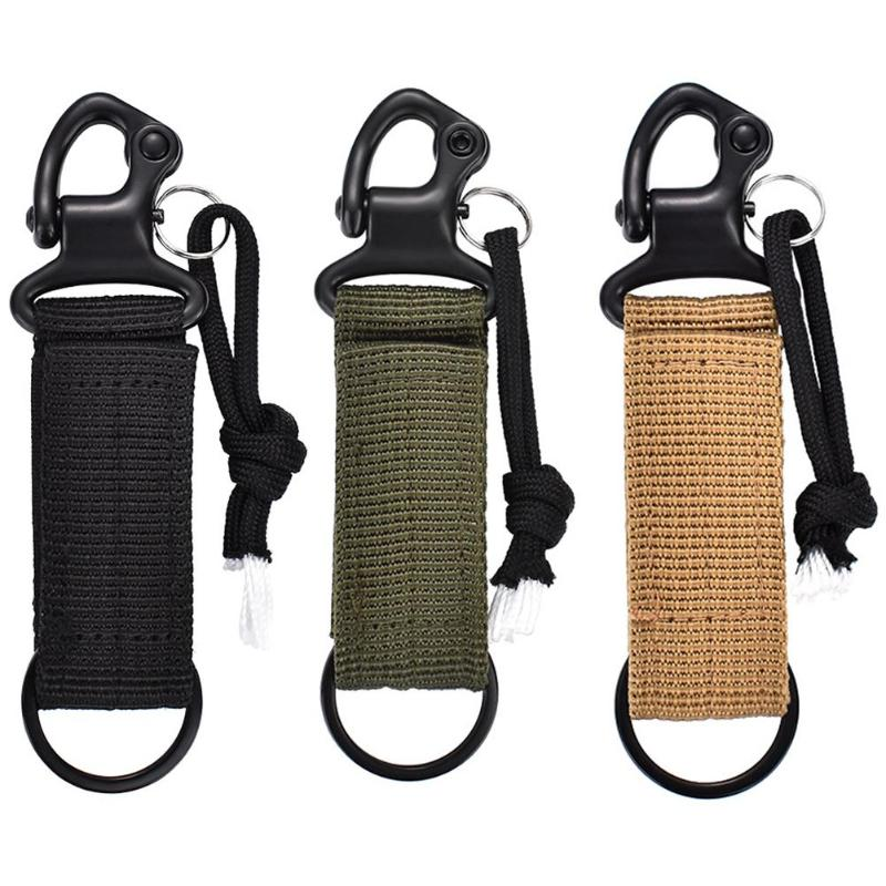 Key Ring Holder Camping Climbing Belt Clip Carabiner Buckle Webbing Strap Keychain Outdoor Tools For Backpack Accessory Buckles