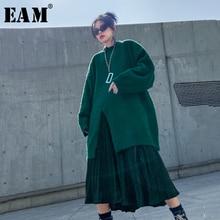 [EAM] юбка средней длины, вельветовый вязаный костюм из двух частей, новинка, круглый вырез, длинный рукав, Свободная Женская мода, весна-осень, 1N090