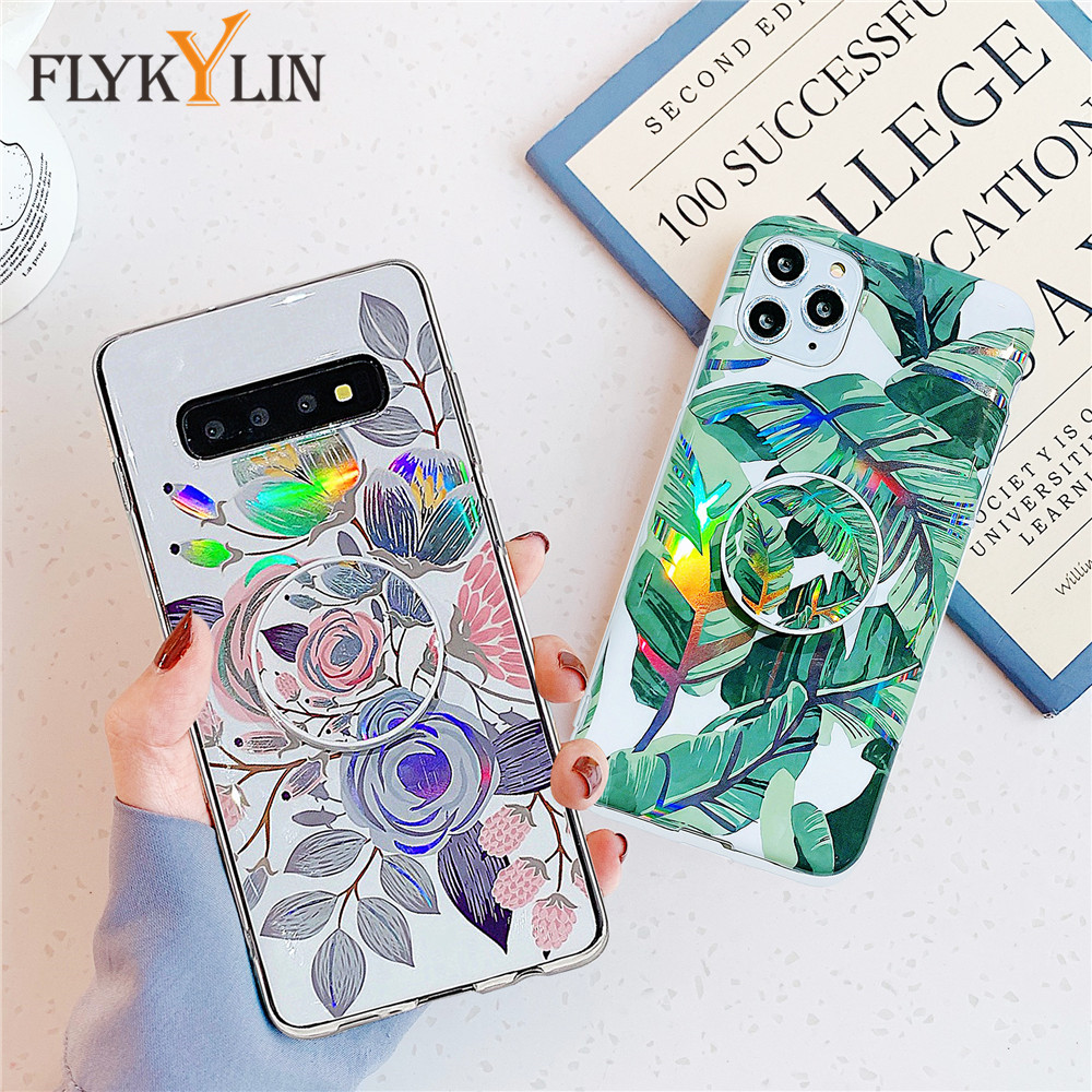 Silicone Phone Case For Samsung Galaxy S20 Ultra S10 S9 S8 Note 9 10 Plus A10 A20 A30 A50 A70 A50S A30S Laser Holder Stand Cover