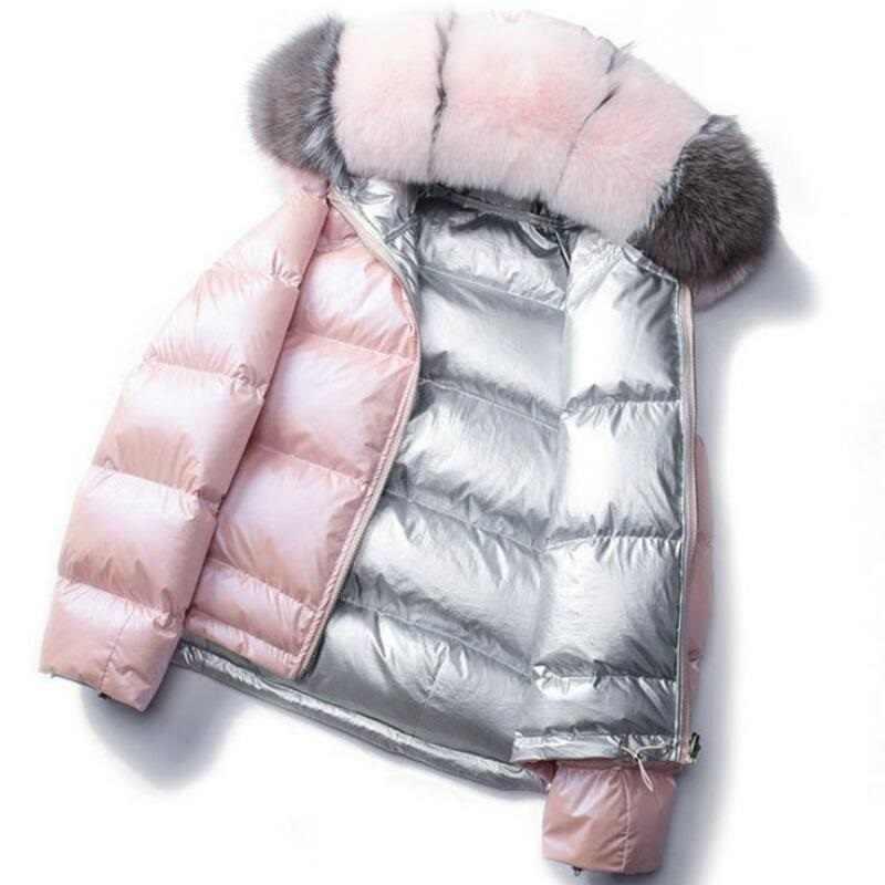 Пальто с натуральным лисьим меховым воротником 2019 зимняя куртка женская Свободная короткая пуховая куртка белая пуховая куртка Толстая теплая пуховая парка