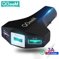 QGEEM-cargador USB 3,0 para coche, adaptador de carga rápida 3,0, martillo de 3 USB-C, portátil, para iPhone y Xiaomi