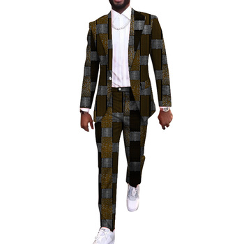 New arrivals print men's African suits fashion man pant suits male street wear blazer and trouser slim fit groom suits