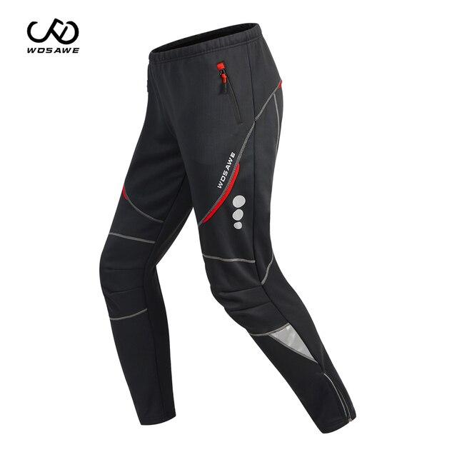 WOSAWE חורף גברים של רכיבה על אופניים מכנסיים Windproof עמיד למים צמר מעובה חם הרי אופני רכיבה מכנסיים Motobike מכנסיים