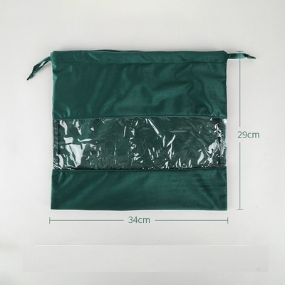 34x29cm Black/Purple/Brown/Grey/Green Velvet And PVC Drawstring Bag Travel Clothes Portable Shoe Storage Bags