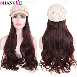 SHANGKE Long Synthetic Small Fragrance Hat Hair Wavy Wig Black Brown Naturally Connect Hat Wig Adjustable For Women's Daily
