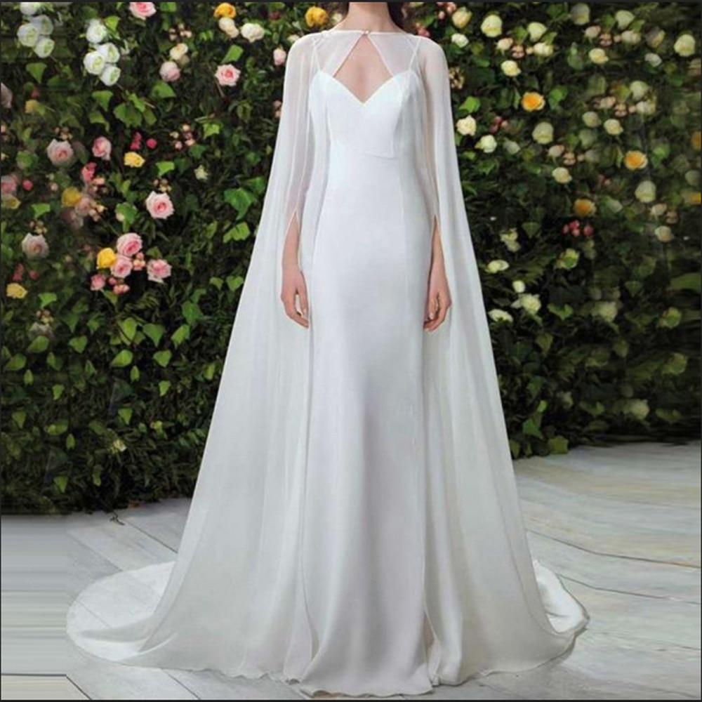 Simple Lady's Custom Chiffon Floor Length Wedding Cape Long White Ivory Wedding Jacket Bolero Handmade Bridal Wrap
