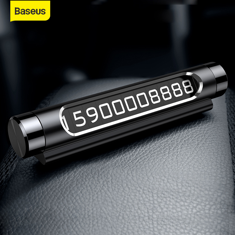 Baseus Car Temporary Parking Card Luminous Phone Number Card Plate Rotary Telephone Number Car Park Stop Automobile Accessories