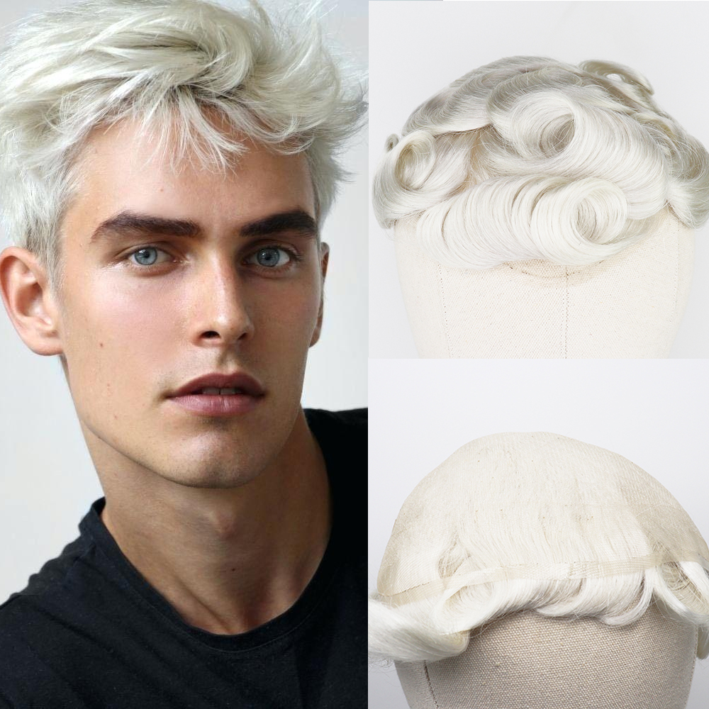 YY Wigs 60R Blonde Human Hair Toupee Men Swiss Lace Men Toupee Remy Hair Replacement System 6 Inch Curly 8x10 Hairpiece White