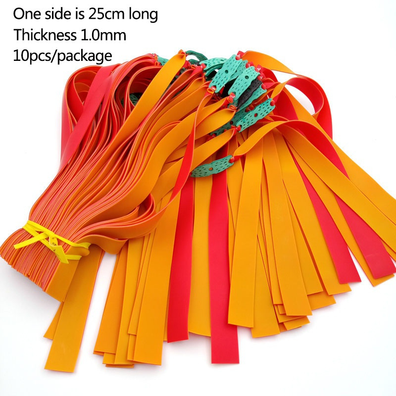 10pcs 1MM Thickness Flat Rubber/Latex Band For Slingshots Fast Springback Slingshot Powerful Elastic Flat Rubber Band
