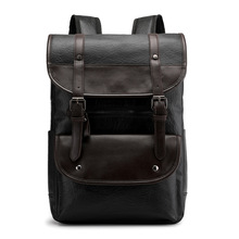New Retro Backpack Leather Men Laptop Travel 15inch Waterproof USB College Bookbag mochila hombre