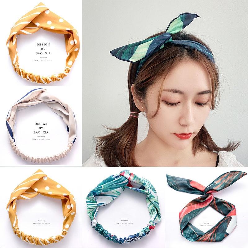 2019 New Women Girls Elegant Print Cross Knot Soft Elastic Headband Bandanas Vintage Hair Band Headwear Fashion Hair Accessories