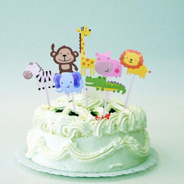 Dżungla motyw ozdoba na wierzch tortu zwierzęta kreskówkowe ciasta Wrapper słoń małpa filc drzewo kubek ozdoba na wierzch tortu dla dzieci materiały urodzinowe