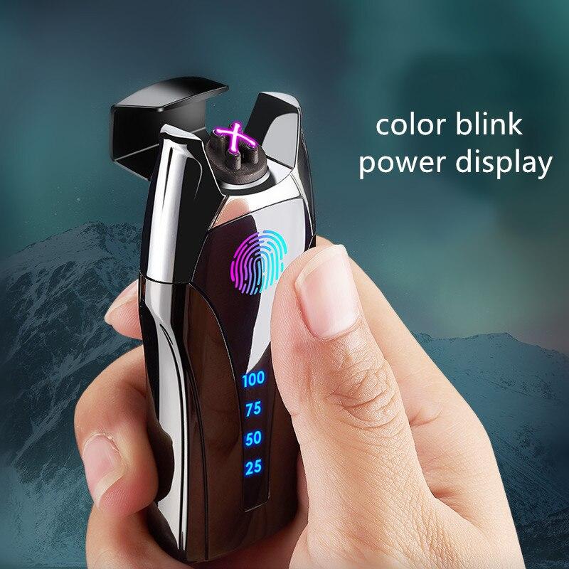 USB-зажигалка для курения с отпечатком пальца, металлическая зажигалка для парня, отца, подруги, подарок на Рождество