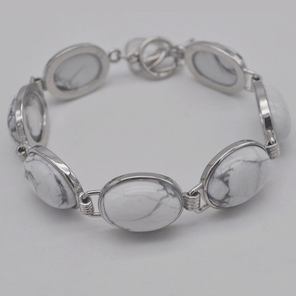 Branco Howlite Stone Beads GEM Bracelet Bangle Jóias G063 Polegada 8