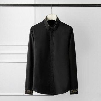 New White Black Mens Shirts Luxury Royal Rivet Long Sleeve Party Men Shirts Plus Size 4xl Slim Fit Casual Mens Dress Shirts