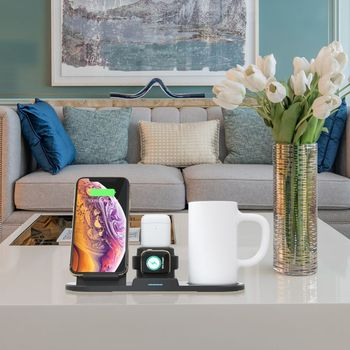 Fast Qi Wireless Charger 15W Wireless Charging Station Phone Stand With Thermostat Warmer Cup For Apple Watch For Airpods