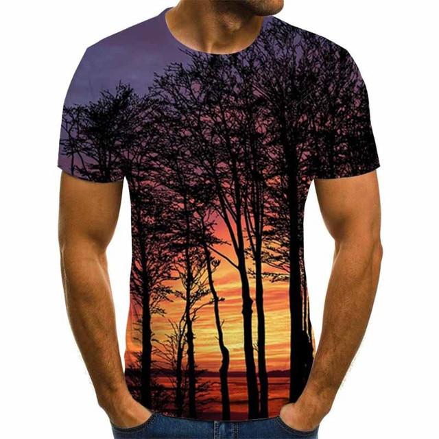 2020 New Men 3D T-shirt Casual Short Sleeve O-Neck Fashion Nature Printed t shirt Men Tees 2