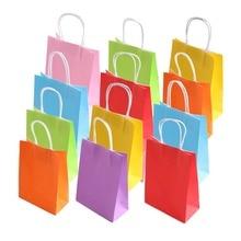 35 pces kraft sacos de papel com alça para festa de aniversário celebrações do casamento presentes acessórios festa favor 7 sacos de cor