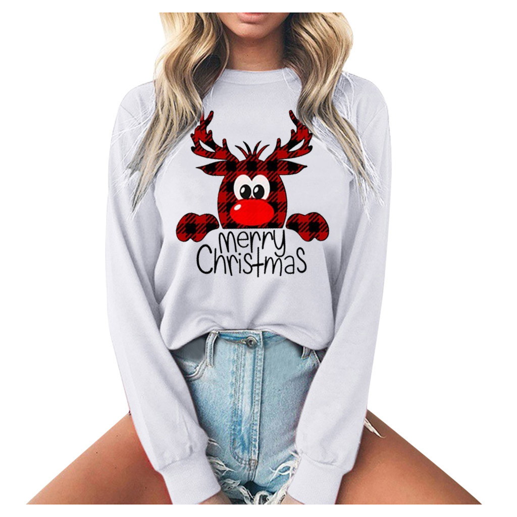 Sweatshirt Women Printing Christmas Deer Round Neck Long Sleeve Casual Blouse Sweatshirt Plus Size S-3XL sudadera mujer