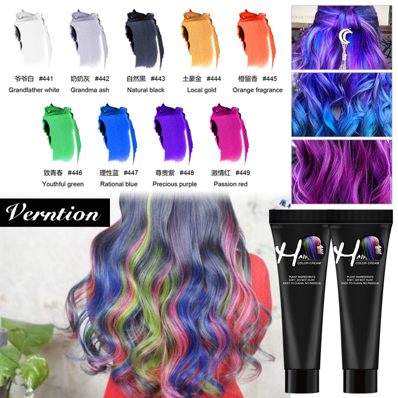 Verntion Disposable Hair Color Paste Cream Hair Dye Hair Color Dye Hair Gel Coloring Molding Wax Women Men Hair Styling Dirt DIY