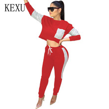 KEXU Jumpsuits Women Bodycon Long Sleeve Clubwear Playsuits Elegant Lace-up Casual Sequins Two Pieces Sets Female Trousers
