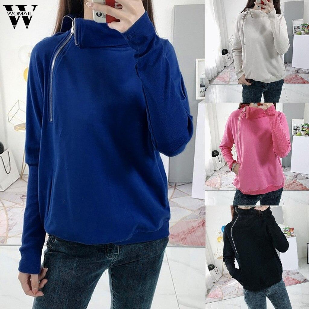 Womail Sweatshirts Women'sLadies Solid Zipper Long Sleeve autumn Turn-down Collar Pullover Kawaii Mujer Women Sweatshirt S-XXL 5