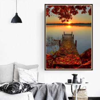 5D Diamond Painting Sunset/Love Beach DIY Round Full Diamond Embroidery Kit Landscape Home Decoration Crafts 30*40cm