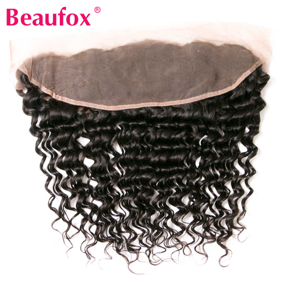 Beaufox 13*4 Deep Wave Frontal Brazilian Deep Wave Human Hair Lace Frontal Closure With Baby Hair Remy Natural Color 8-20""
