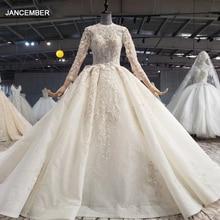 HTL1042 신부 빈티지 웨딩 드레스 2020 긴 기차 높은 목 긴 소매 Boho 공 가운 아플리케