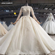 HTL1042 vestidos de novia de Vintage nupcial, Vestido largo de cola con cuello alto y manga larga, vestido de baile bohemio con apliques, 2020